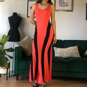 Gorgeous Coral and Black Maxi Dress Mermaid Fit